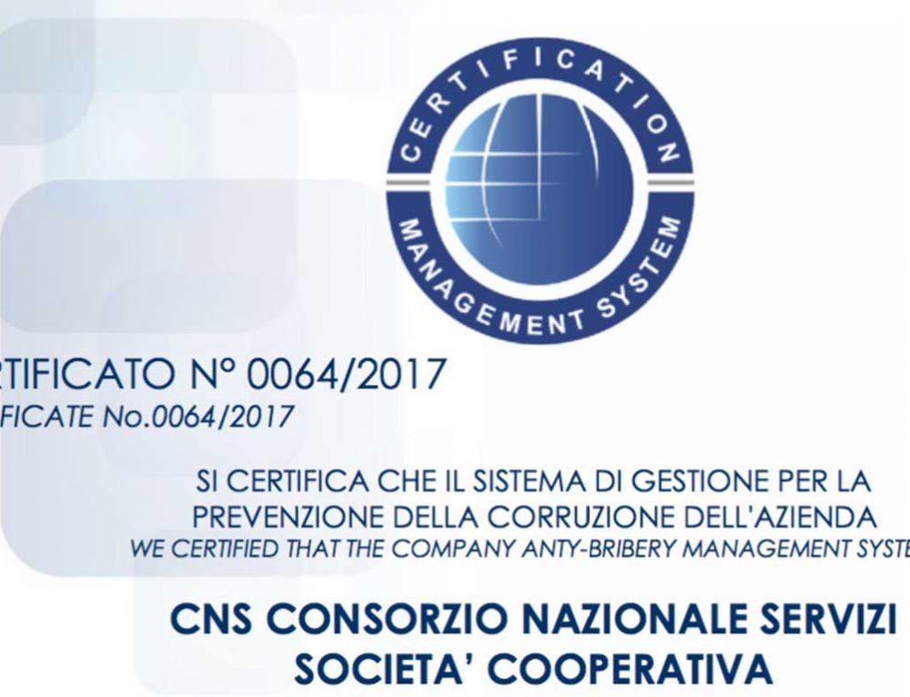 IL CNS OTTIENE LA CERTIFICAZIONE ISO 37001